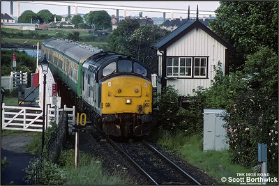 37428 'David Lloyd George' rumbles across the swing bridge at Clachnaharry whilst in charge of 2H87 1838 Inverness-Kyle of Lochalsh on 12/07/1993.