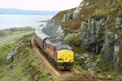 37416 departs from Mallaig on 22/09/2001 with 1Z38 1450 Mallaig-Edinburgh Waverley SRPS Charter.