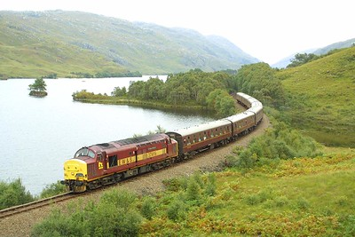 Upon arrival at Fort William the buffet car was removed to enable the train loco to run round its train at Mallaig. 37427 & 37408 were replaced by 37416 for the Fort William to Mallaig and return legs. Here 37416 is seen at the western end of Loch Eilt with 1Z37 0527 Edinburgh Waverley-Mallaig SRPS charter.