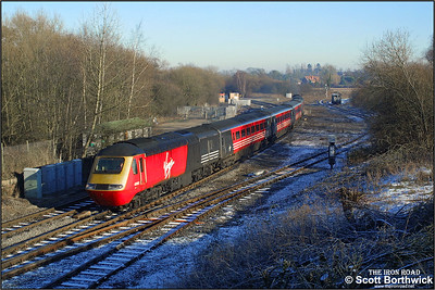 43162/43078 pass Whitacre Junction with the 1012 Manchester Piccadilly-Oxford diverted via Nuneaton due to engineering works on 05/01/2003.