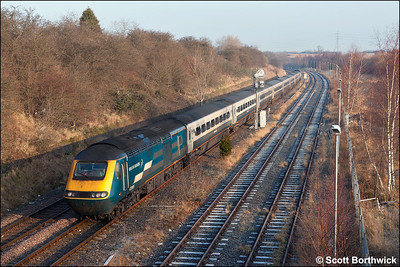 43085/43051 form 1C15 0655 Leeds-London St Pancras photographed passing Corby whilst diverted away from the Midland Main Line due to engineering work at Market Harborough on 28/01/2006.