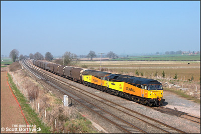 47739 'Robin of Templecombe'+47727 'Rebecca' trundle along Elford Loop with 6Z48 1305 ThO Burton upon Trent West Yard-Dollands Moor on 19/03/2009.