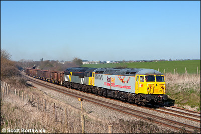 56312+56302 restart 6Z69 1200 Burton Wetmore Sdgs-Cardiff Tidal TC away from the loop at Abbotswood Jnct on 26/03/2012.