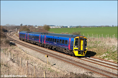 158951 forms 2O94 1450 Great Malvern-Weymouth at Abbotswood Jnct on 26/03/2012.