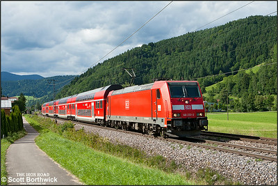 DBAG Class 146, 146 233, runs through the Black Forest passing Singersbach whilst working RE5327 1609 Karlsruhe Hbf-Kreuzlingen on 12/07/2012.