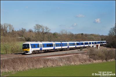 165032+165033 form 1R45 1426 MO STP London Marylebone-Birmingham Moor Street passing Hatton North Jnct on 06/04/2015.