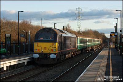 67006 'Royal Sovereign' brings up the rear of 2T08 1650 Nuneaton-Coventry passing through the recently opened Bermuda Park station on 28/02/2016. The service was running in connection with the Wasps v Harlequins rugby union match at the Ricoh Arena.