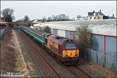 67028 leads 2T10 1640 Nuneaton-Coventry with 67005 'Queen's Messenger' on the rear, passing Black Pad, Coventry on 12/03/2016  The train was running in connection with the Aviva Premiership rugby union clash between Wasps and Leicester Tigers at the Ricoh Arena.