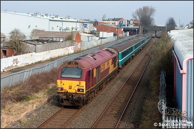67028 brings up the rear of 2T01 1112 Coventry-Nneaton headed by 67005 'Queen's Messenger' passing Black Pad, Coventry on 12/03/2016  The train was running in connection with the Aviva Premiership rugby union clash between Wasps and Leicester Tigers at the Ricoh Arena.