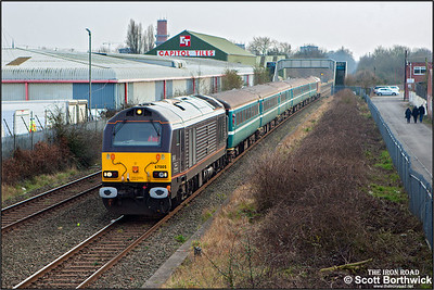 67005 'Queen's Messenger' with 67028 on the rear passes Lockhurst Lane, Coventry whilst working 2T07 1612 Coventry-Nuneaton on 12/03/2016  The train was running in connection with the Aviva Premiership rugby union clash between Wasps and Leicester Tigers at the Ricoh Arena.