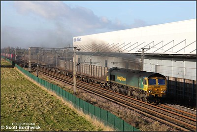 66540 'Ruby' is clagging well and running 13 minutes early at Barby Nortoft whilst in charge of 4L46 1216 Hams Hall FLT-London Gateway on 03/01/2020.