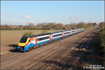 222001 forms 1D07 0704 London St Pancras International-Nottingham at Cossington on 12/04/2021.