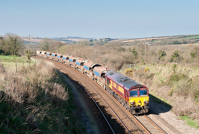 020409 66097 6W79 Long Rock-Westbury ballast working,nears Burngullow