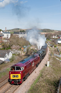 050409 With Nunny Castle failing at Newton Abbot D1015 was sent from Plymouth to assist.The train is seen at Totnes ,nearly 2 hours late,Oliver Cromwell behind the western