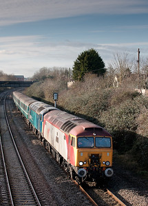 57303 and 57315 pass Creech st Michael with a very late running Taunton-Cardiff ECS.