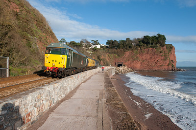 31601 leads 31106 with inspection saloon 999508 on the 1245 exeter-Plymouth at Parsons tunnel.