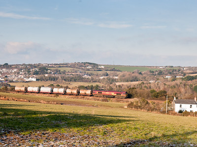 66230 passes Wheal Busy,near Chacewater with the 6C11  WO  14:20 Long Rock-St.Blazey
