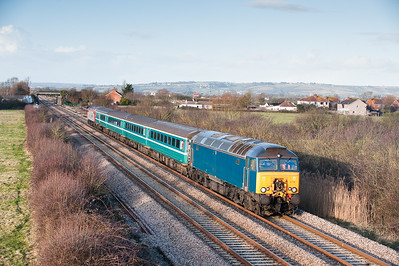 57316 Tnt 57309 on the 1400 Cardiff-Taunton at Brent Knoll