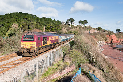 67016 TnT with 67017 pass Hollicombe with the 0800 Cardiff-Paignton
