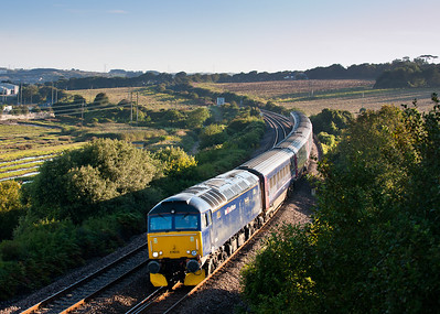 190811  Wanted to do this shot for ages so a promising forecast and off we went.57605 has just left Hayle with 1C99 the 23:45 Paddington-Penzance sleeper.