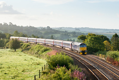 150811  Another Monday morning ,another reasonable forecast so I had to go for it.I was bowled east of Liskeard but managed to get the shot just to the west of moorswater viaduct.No Virgin 57 but 57605 still looks good as it heads the down sleeper towards Penzance.