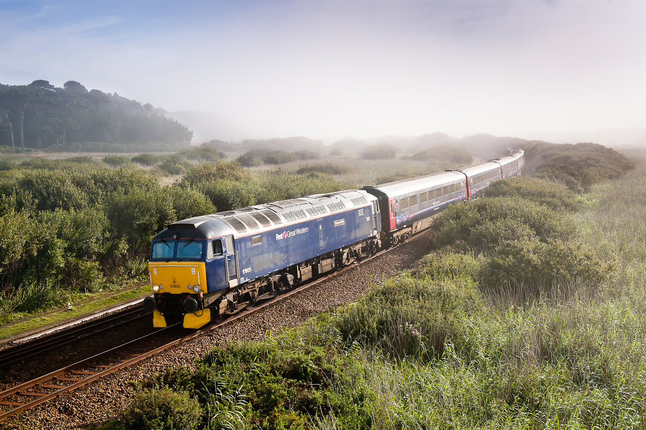 220811 The train had 5 minutes to spare at St Erth so I thought I would try for this,again with a minute to spare it is seen passing a foggy/sunny Marazion.