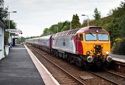 050811 57309 is hired in due to no available FGW 57's and is seen approaching its stop at Liskeard with 1C99  23:45 Paddington-Penzance