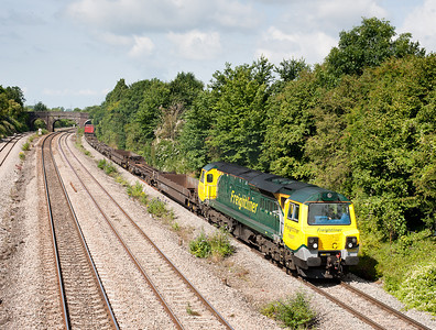 110711 70007 4O51 09:58 Wentloog(Cardiff)-Southampton passes Undy,my first Class 70 in the sun,pity about the load behind it.