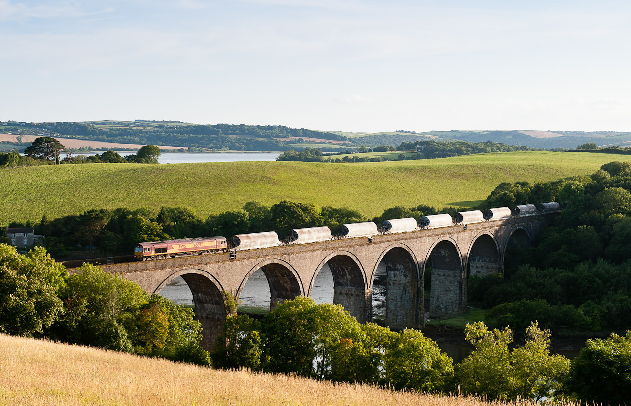 220711 What better way to spend an evening chatting to the BZ waiting for this.....66092 on 6C43 FO 18:43 St.Blazey-Exeter Riverside cross Forder viaduct.Cornwall is hard work but when you nail the shot it all seems worthwhile (4th time lucky for the BZ!)