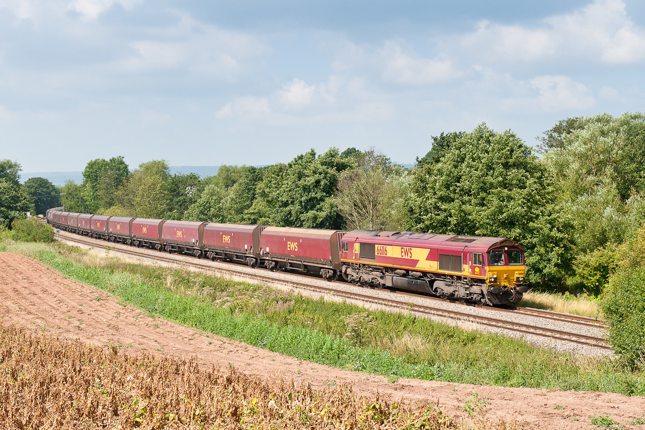 270711 With the light still holding and the trains on time,66116 on 4E66  8:55 Margam-Redcar storm pass Lydney