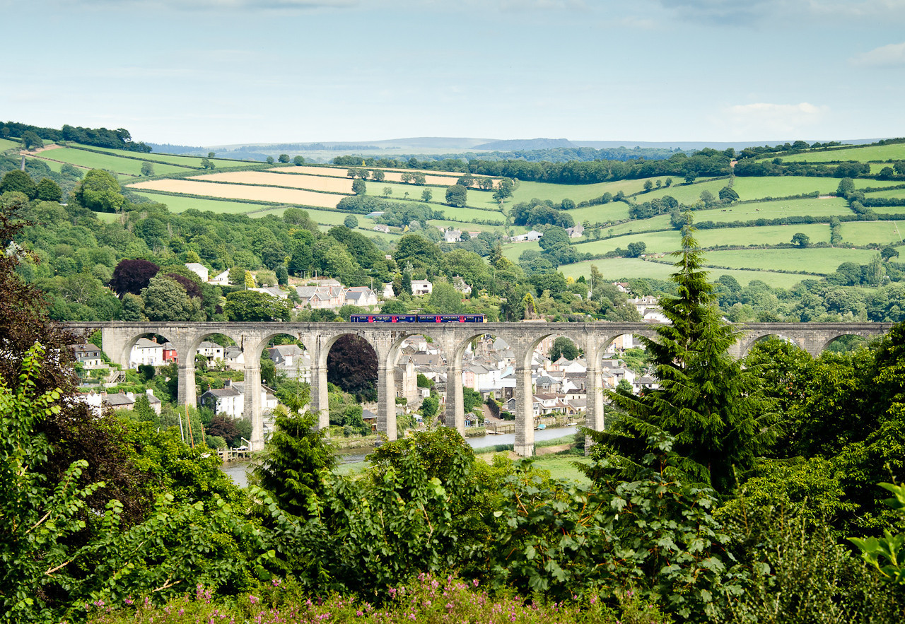 250711 A visit to Cotehele house and I remembered a long range shot over Calstock viaduct .A FGW class 150 heads for Gunnislake