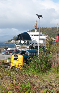 140911  55022 being devoured by a Cal Mac ferry at Oban.