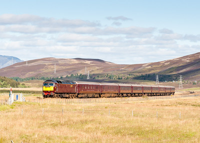 "160911 With the train being an hour in Kingussie we picked this spot to see it heading South.57001 heads down Glen Truim near Dalwhinnie with the 1H82 1257 Kingussie to Dundee ""Classic"" Royal Scotsman tour.Taken by the assistant"