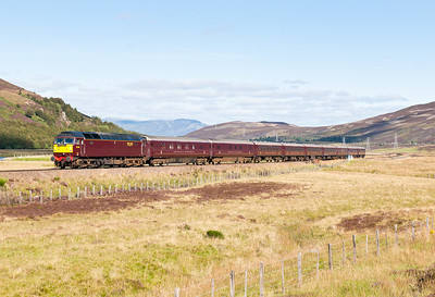 "160911 I was a few hundred yards down the line from the assistant for this one.57001 heads down Glen Truim near Dalwhinnie with the 1H82 1257 Kingusie to Dundee ""Classic"" Royal Scotsman tour.This was the only photo in 10 days where we were confident of the sun as we were in a big patch of blue."