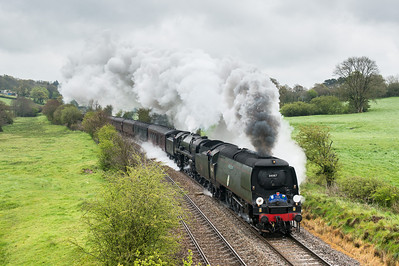 "280412  Not really into steam but I must admit this was a pretty amazing sight/sound.34067 ""Tangmere"" & 70013 ""Oliver Cromwell""  on 1Z27 0815 Bristol to Penzance storm rattery bank."