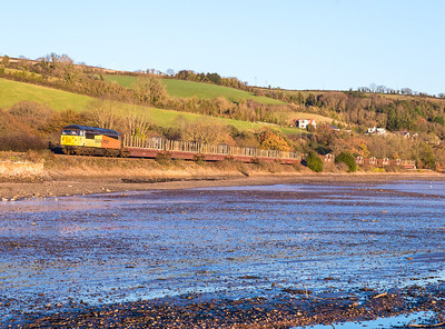 051212  Been wanting the shot on the Teign for ages and as it was crystal clear surely it was in the bag?.....No chance the working dropped of the gen radar and eventually arrived in front of us nearly 40 minutes late.56094 is caught again (by the assistant)  on the 6Z52 WO-Q 07:13 Chirk-Teigngrace