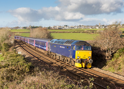 081212  With a fair bit of cloud around where would I go,I really wanted this shot so give it a go and fingers crossed......57602 on  5Z10 1238 Penzance - Laira  have just crossed Bolitho viaduct near Liskeard,considering how much cloud was around so relieved to get  this in full winter bling.