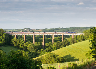 090612  A quick drive and an anxious wait,did I beat it?Well as it was still going slow I beat it by nearly 15 minutes.57602 heads the down sleeper over Liskeard viaduct.With cloud already piling it this may be it for the day  (it was)