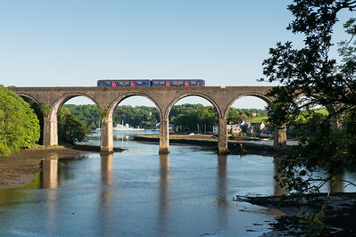010612  Plymouth was dull/grotty until around 1700 when the clouds suddenly parted.......game on.A golden rule of photography is that the DMU before the freight will be in the sun. Here we are with a FGW class 150 heading over Forder viaduct.