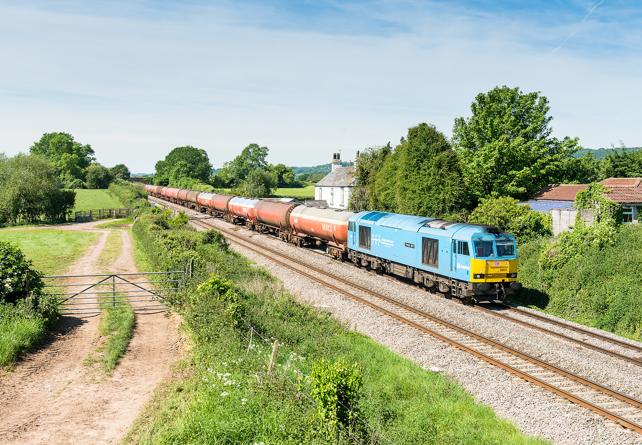 "280512  Wanted to do this shot for ages and the ""blue one"" meant we had to go for it. 60074 passes Plusterwine with 6B13  05:04 Robeston-Westerleigh...nice"