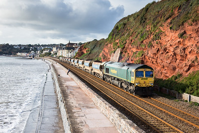 021112 Really wanted to do this in Cornwall but it did not look good weatherwise so headed towards Dawlish. After standing in full bling for 20 minutes cloud started to pile in,however it held off until the train had past.66622  TnT 66547 on the  6Y48 08:00 Penwithers Jct - Westbury Down Yard pass Dawlish