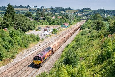 "010813  I decided to stay at chipping Sodbury for the afternoon ""freight fest"" as I have never done these shots and the electrification masts/wires will ruin it forever......66087 passes Chipping Sodbury with the 6V47 M/ThO 10:13 Tilbury-Trostre"