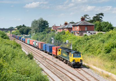 010813  Could I make it to Chipping Sodbury in time to see the container train ,then bomb up to Wickwar and get 6B13??as it turned out it was easily done...6B13 and 6E41 were caped and to top it all 4051 was nearly 2 hours late in departing....not a good start to the day and why did I bother to drive 140 odd miles?? 70017 departs Chipping Sodbury loop with a very late running 4O51 09:58  Wentloog(Cardiff)-Southampton