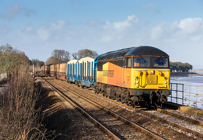 300113  Meanwhile I am set up about a mile down the line and we both get sunny shots.56094 passes the foot crossing at Powderham estate.