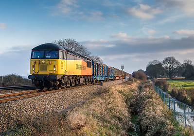 240113 It was really touch and go with the sun but just as the train came round the bend it popped out!....56094 heads the 6Z53  ThO  14:41 Teigngrace-Chirk seen passing Powderham