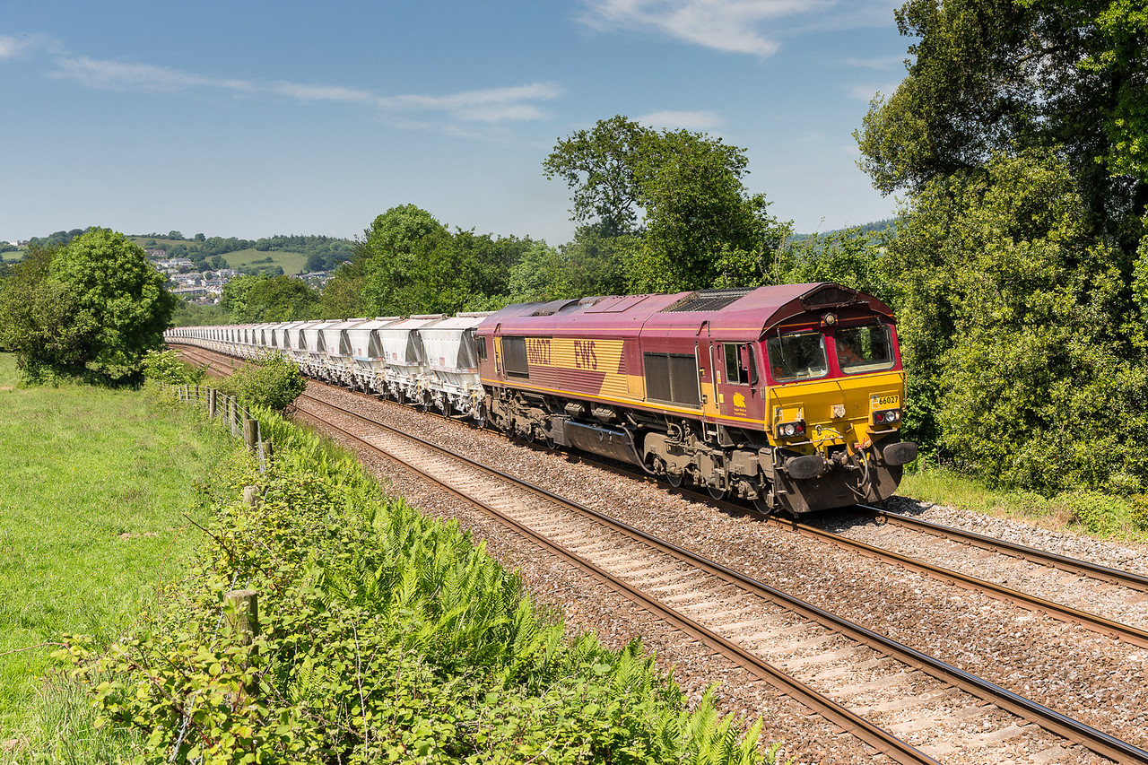 190613 We have been home for 9 days and finally a decent day!! With Lostwithiel in the background 66027 heads the 6G07 13:50 Fowey-Goonbarrow upgrade near Milltown. Not bad for a fist shot of the leave.
