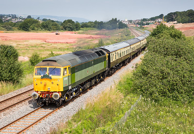 070713 With a steam ban in force it was left to a diesel to kick of the Torbay express season.....47812 on the 1Z27 Bristol Temple Meads to Kingswear,pass the changing scene at Barn owl bridge.