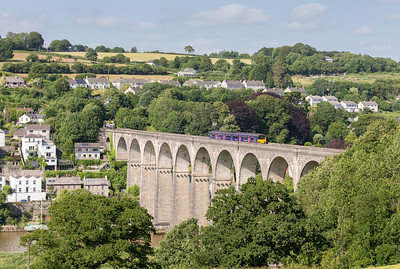 040713 With the skies clearing in the afternoon I really wanted to go for the Parkandillack to exeter freight,however it ran over an hour early so what to do with a nice evening. Plan B....150101 heads over the mighty Calstock viaduct and into Cornwall