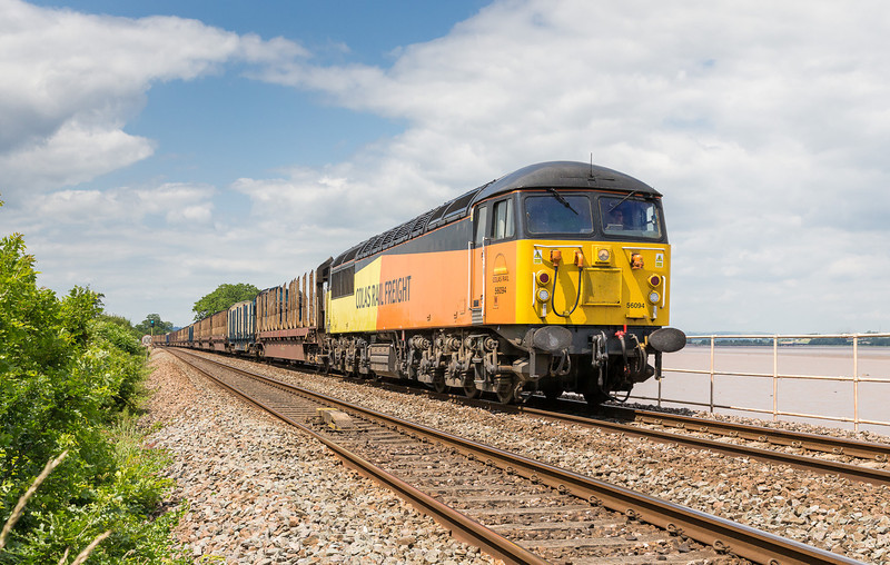 250613  It was pretty claggy for most of the drive back but the clouds parted around the Exe estuary...game on again.56094 on the 6Z52 07:13 Chirk-Teigngrace thunders through Powderham.