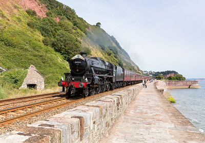 """010913 Next up and running around 25 minutes behind Braunton, Black 5 44932 Top & Tail 47237 working 1Z37 08:48 Bristol Temple Meads to Par """"The Royal Duchy"""".I was going to go to Cornwall to see this but the 47 was put on the front at Newton Abbot as some lineside fires near Exeter had been reported so well glad we came up here as a WCRC sludge brown 47 is the pits."""